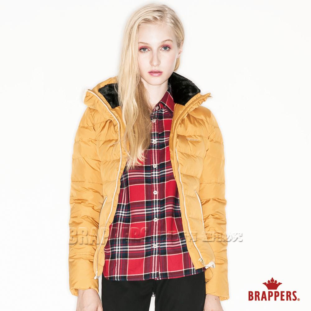 BRAPPERS 女款 女用立領麂皮滾邊羽絨外套-黃