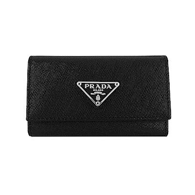 PRADA 經典三角鐵牌LOGO防刮牛皮鑰匙包(6釦/黑)