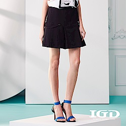 IGD英格麗 優雅百褶扣帶造型短裙-黑色