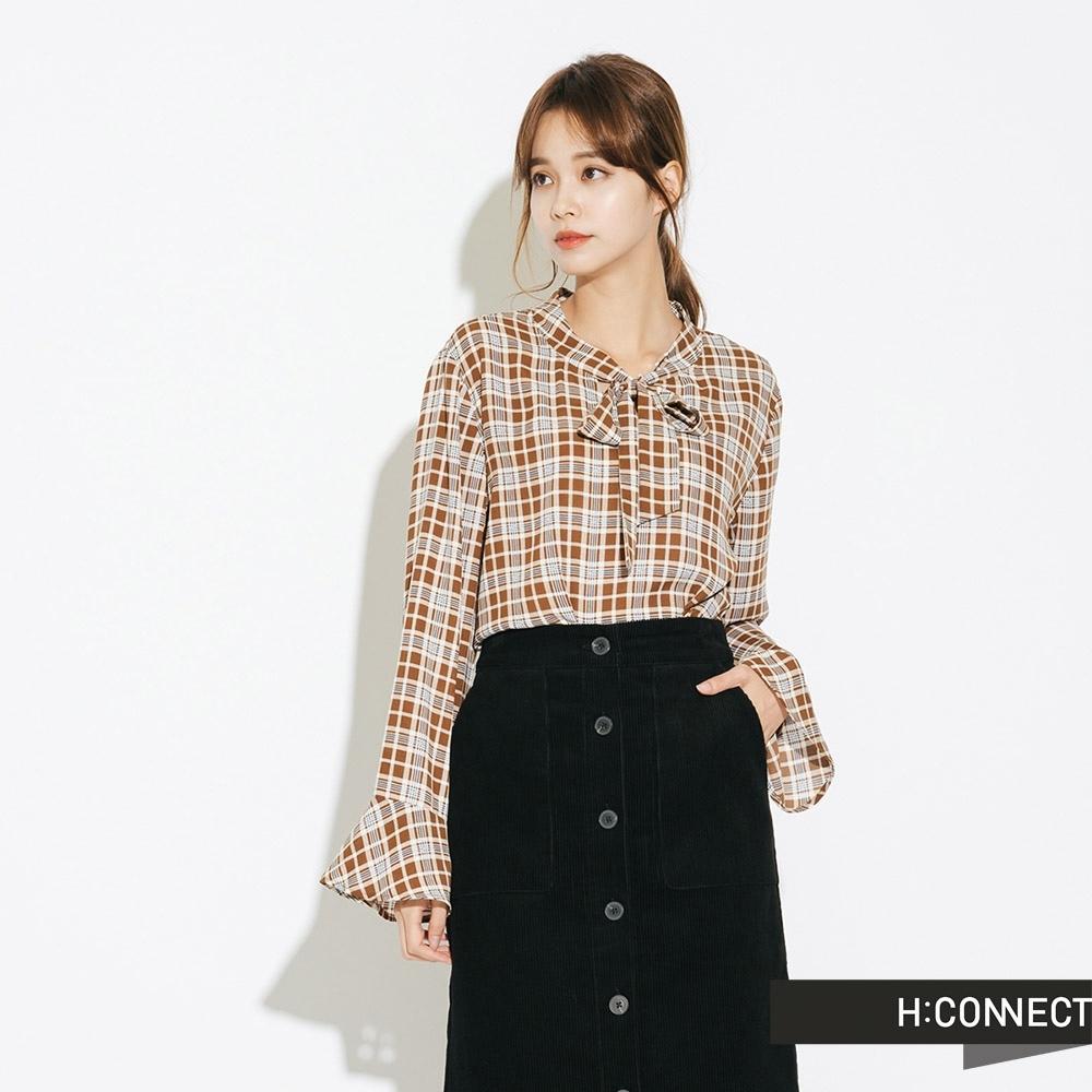 H:CONNECT 韓國品牌 女裝-復古格紋綁結襯衫-棕