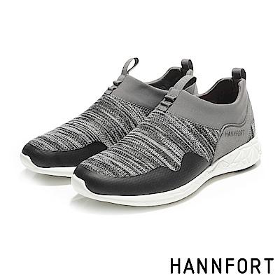 HANNFORT ICE編織彈力運動休閒鞋-男-風潮灰