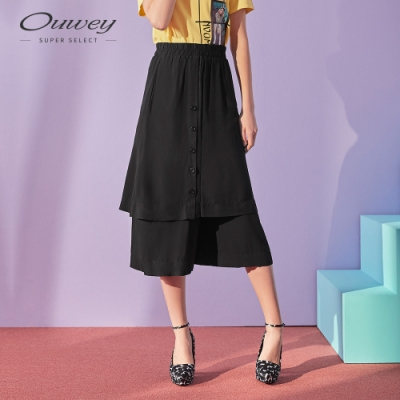 OUWEY歐薇 實穿系層次活片寬褲(黑/咖)