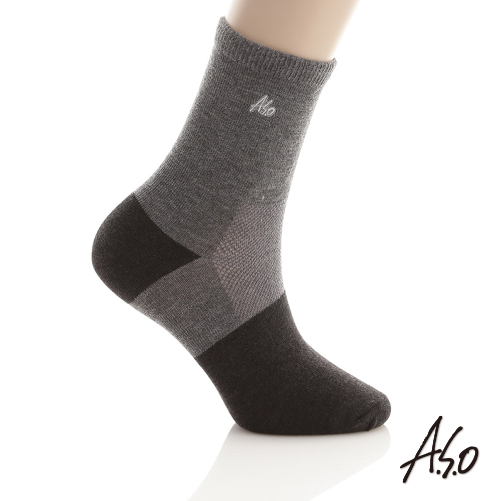 A.S.O 竹炭抑菌 弓型竹炭襪 加大版 淺灰