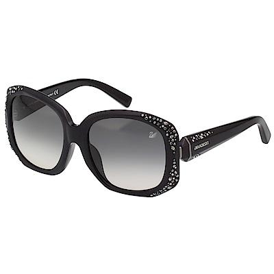 SWAROVSKI 大方框 水鑽 太陽眼鏡(黑色)SW9042