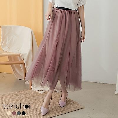 東京著衣 浪漫飄逸腰鬆緊透視層次紗裙(共四色)