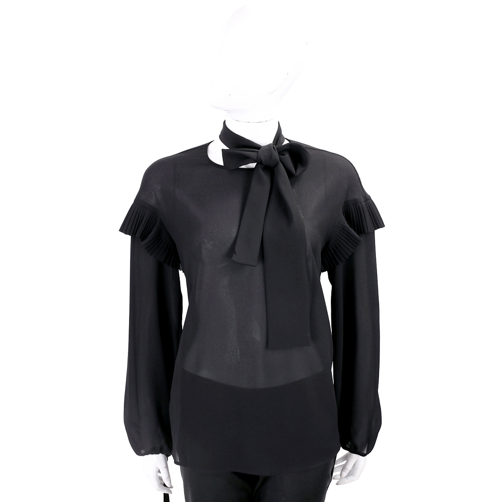 PINKO 百褶細節黑色綁帶雪紡紗上衣 @ Y!購物