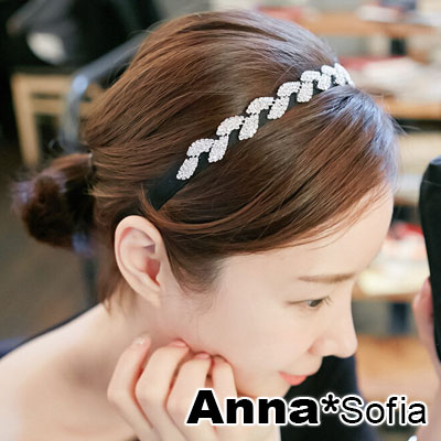AnnaSofia 奢鑽桂葉 韓式新娘髮飾髮箍(黑系)