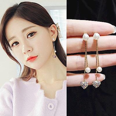 梨花HaNA 韓國925銀針炫彩迷幻愛心耳線耳環