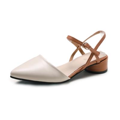KEITH-WILL時尚鞋館 狂賣千雙素面粗跟鞋-米