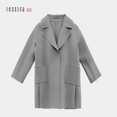 JESSICA RED - 灰色休閒寬鬆大口袋羊毛混紡毛呢大衣