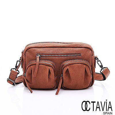 OCTAVIA 8 真皮 - 方圓規距 超軟牛皮雙口袋肩斜二用包- 褐糖棕