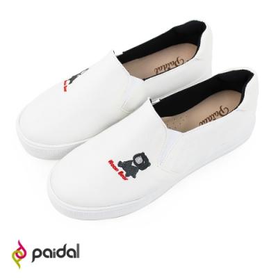 Paidal 保特紗厚底休閒鞋加硫鞋-黑熊寶