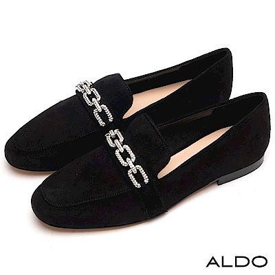 ALDO 原色麂皮綴幾何鏤空水鑽鍊帶樂福鞋~尊爵黑色
