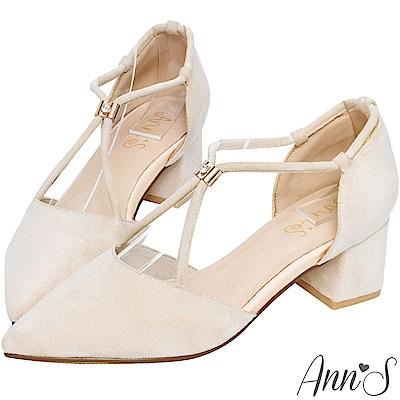 Ann'S茉莉公主-古典V型顯瘦可調式鑽扣尖頭粗跟鞋-杏