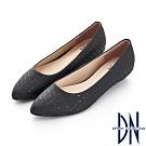 DN 俐落時尚 特殊幾何線條尖頭包鞋-黑