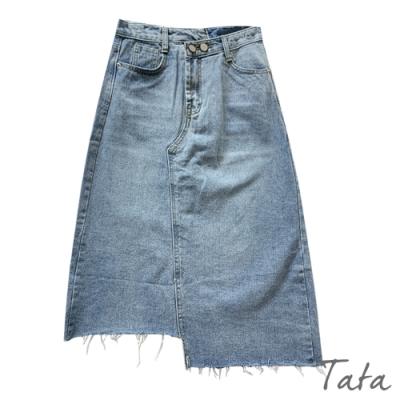 不規則拼接抽鬚牛仔裙 TATA-(S~L)