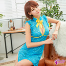 Sexy Cynthia角色扮演 俏麗水藍色網紗刺繡旗袍二件組-藍F