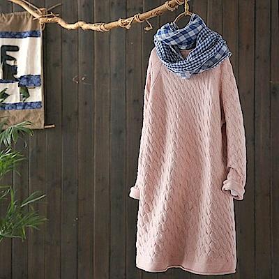 麻花寬鬆中長版毛衣裙時尚針織-Y4746-設計所在