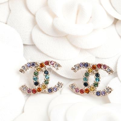 CHANEL 新款香奈兒雙C LOGO金屬彩色水鑽大款穿式耳環 (金色)