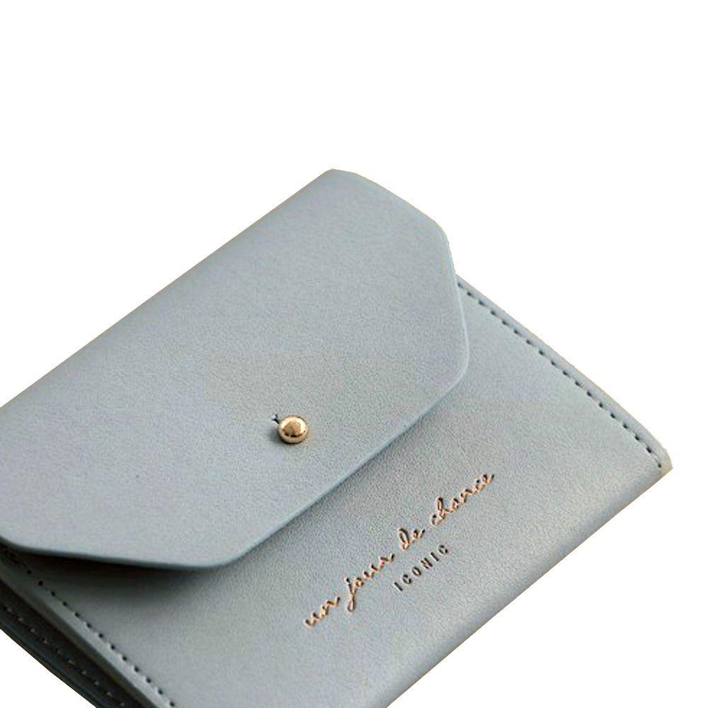 ICONIC 職人風格皮革票卡夾零錢包M-鐵灰藍
