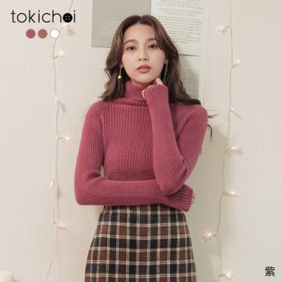 東京著衣 超級溫暖高領磨毛多色坑條高彈上衣