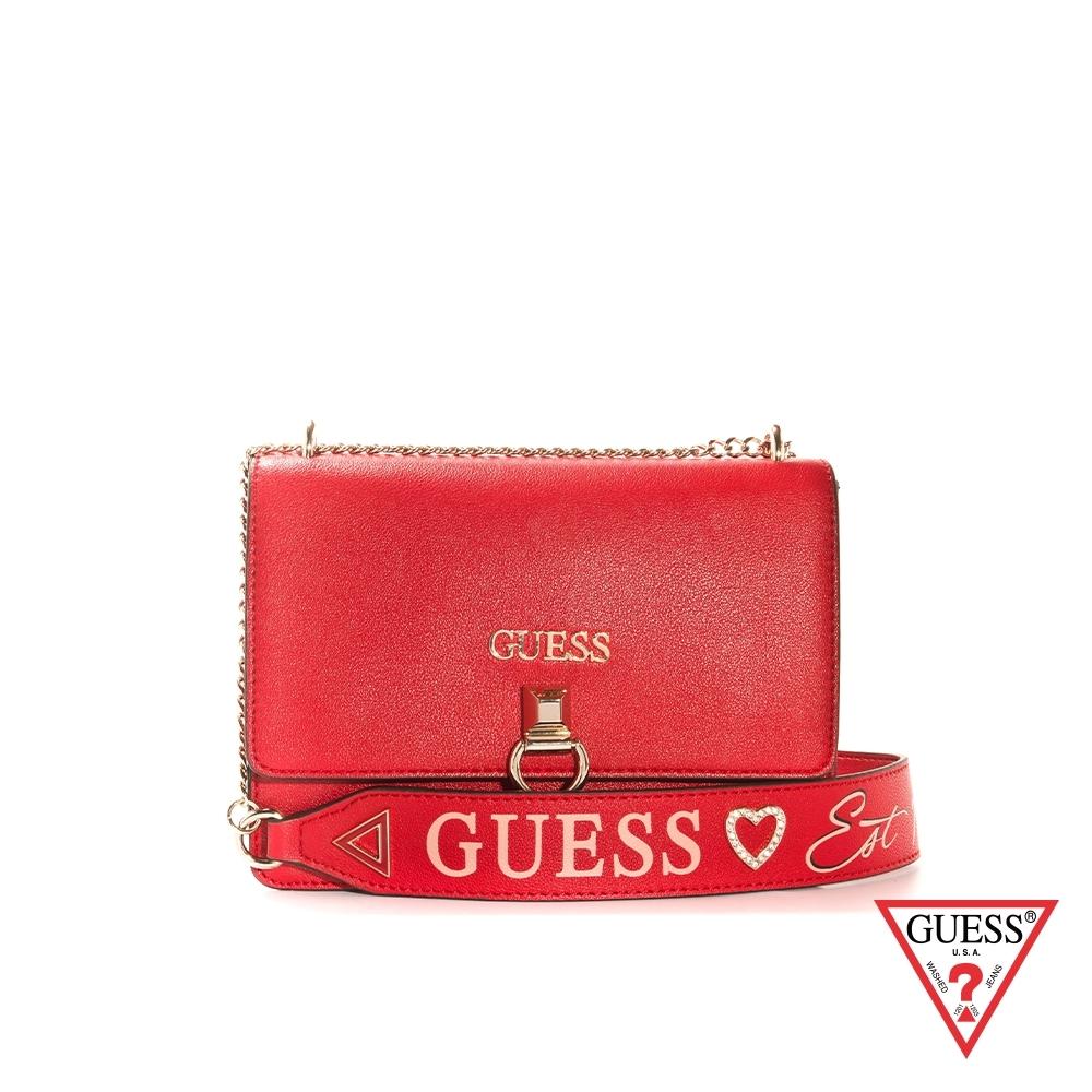 GUESS-女包-簡約環扣鍊條方包-紅