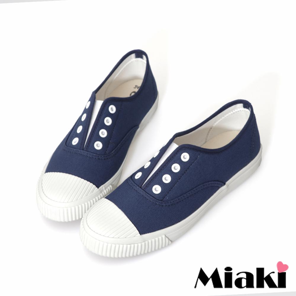 Miaki-休閒鞋.韓式學院風帆布餅乾鞋-藍