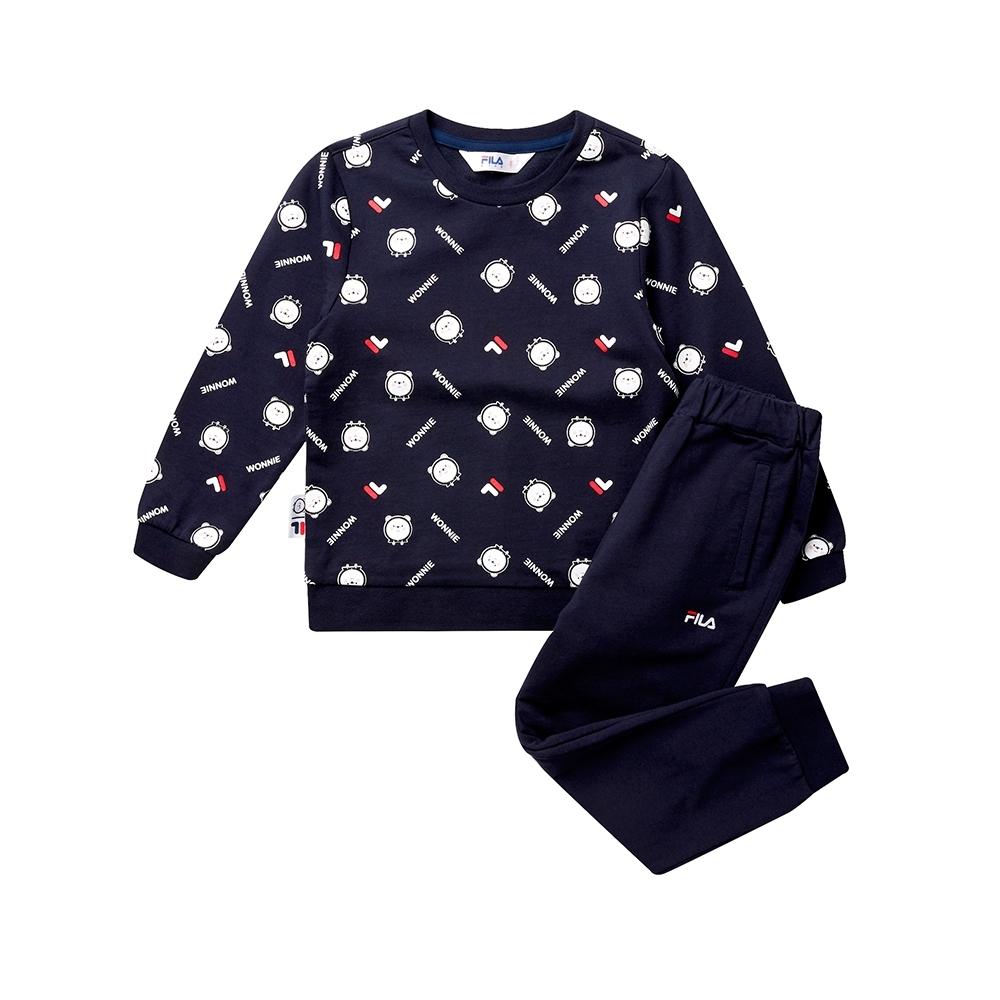 FILA KIDS #WONNIE系列小童圓領套裝-丈青 1WTT-8458-NV
