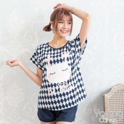 睡衣 彈性棉質短袖兩件式睡衣(C01-100719兔子撲克牌) Young Curves