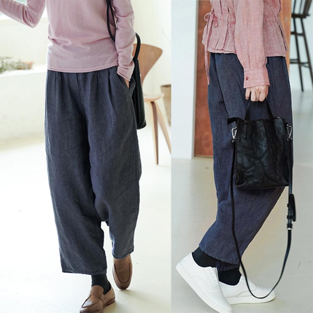 14支色織亞麻藍色直筒休閒九分褲-設計所在