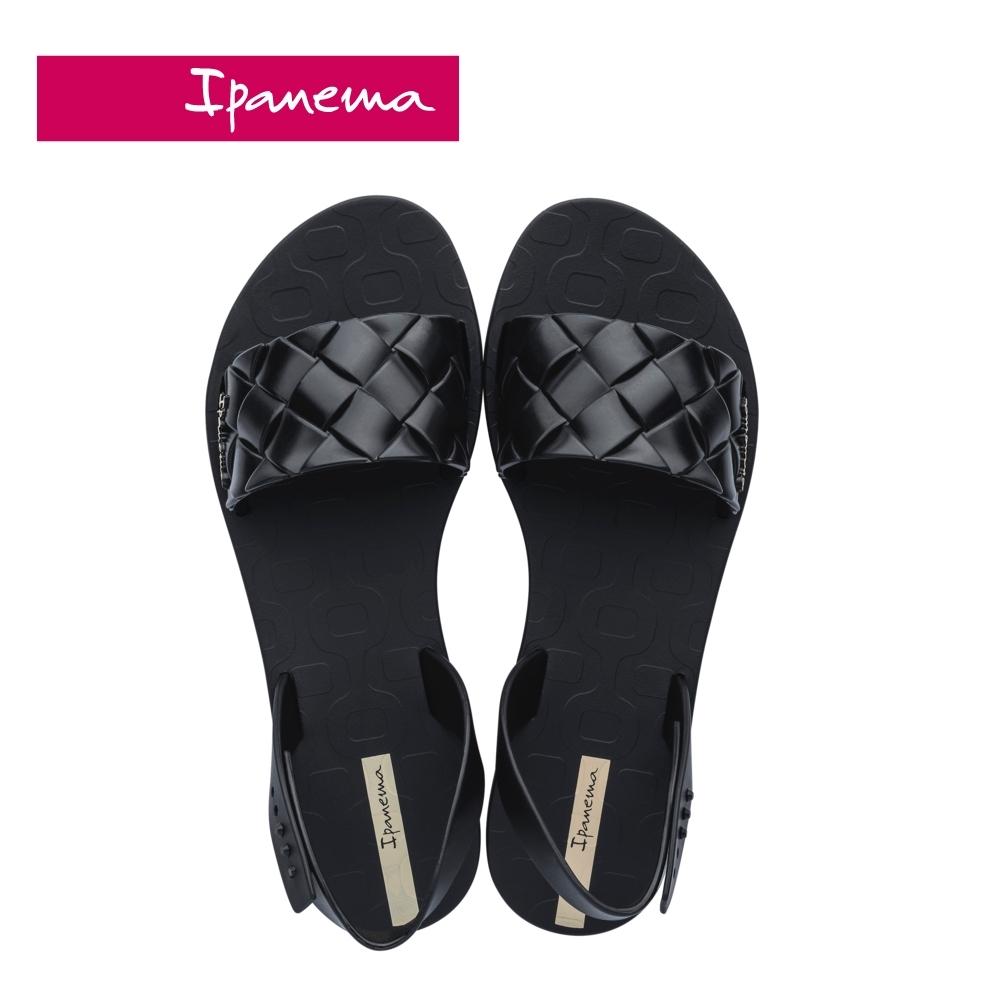 Ipanema  GO TREND菱格紋一字涼鞋-黑