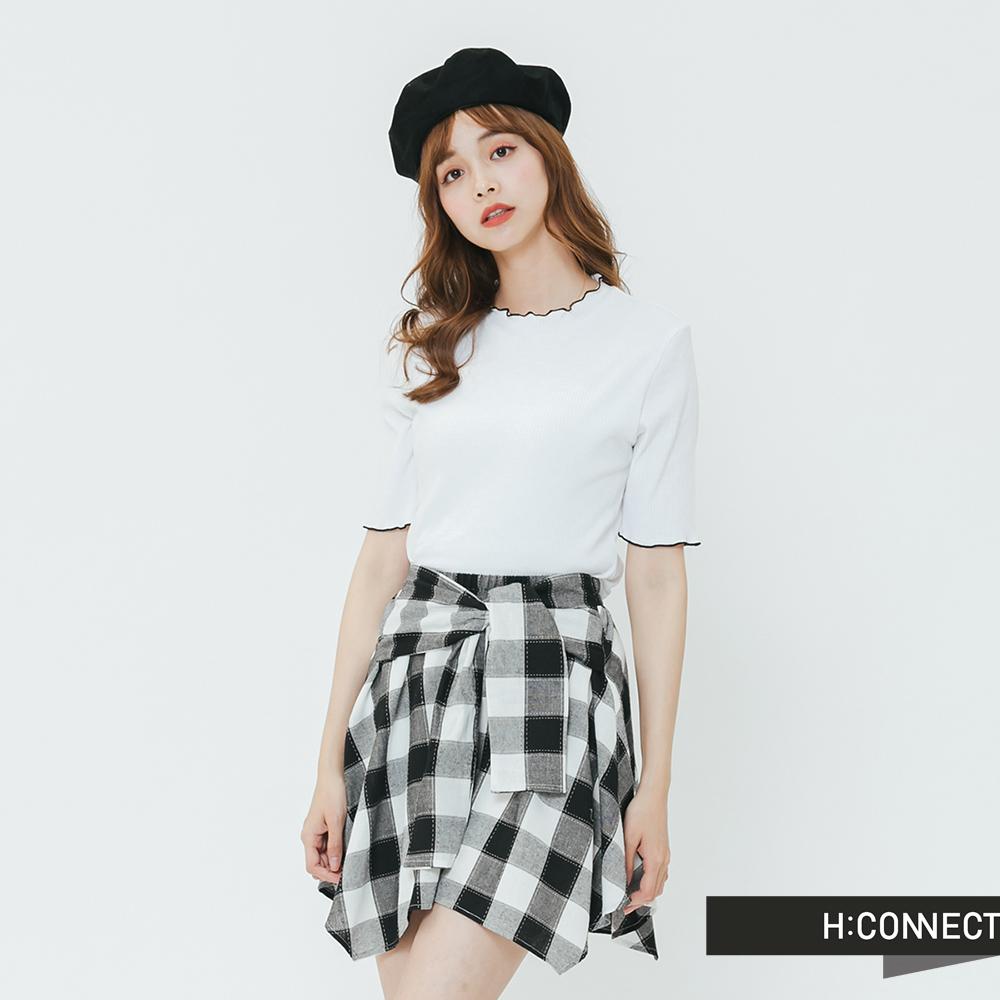 H:CONNECT 韓國品牌 女裝-撞色捲邊羅紋上衣-白