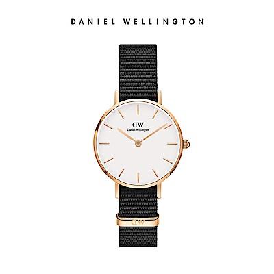 DW 手錶 官方旗艦店 28mm玫瑰金框 Classic Petite 寂靜黑織紋手錶