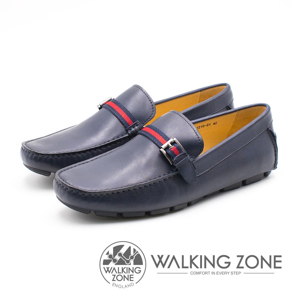 WALKING ZONE 紅藍織帶牛皮樂福鞋 男鞋 - 藍(另有棕)