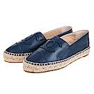 CHANEL經典Espadrilles羊皮雙C LOGO草編厚底鉛筆鞋 (藍色/37)