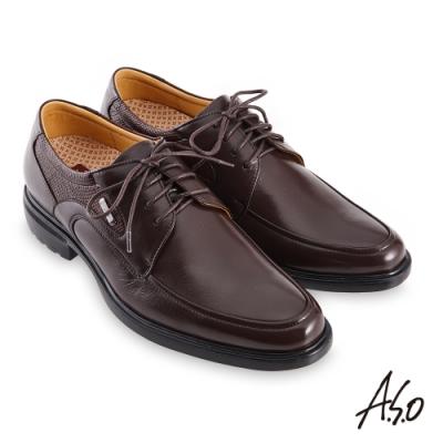 A.S.O 職場通勤勁步健康異材德比紳士鞋-咖啡