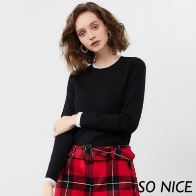 SO NICE時尚水貂毛撞色針織上衣