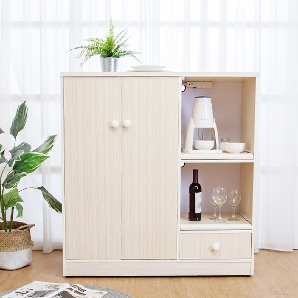 Birdie南亞塑鋼-3.6尺二門一抽二拉盤塑鋼電器櫃(白橡色)108x41x115cm