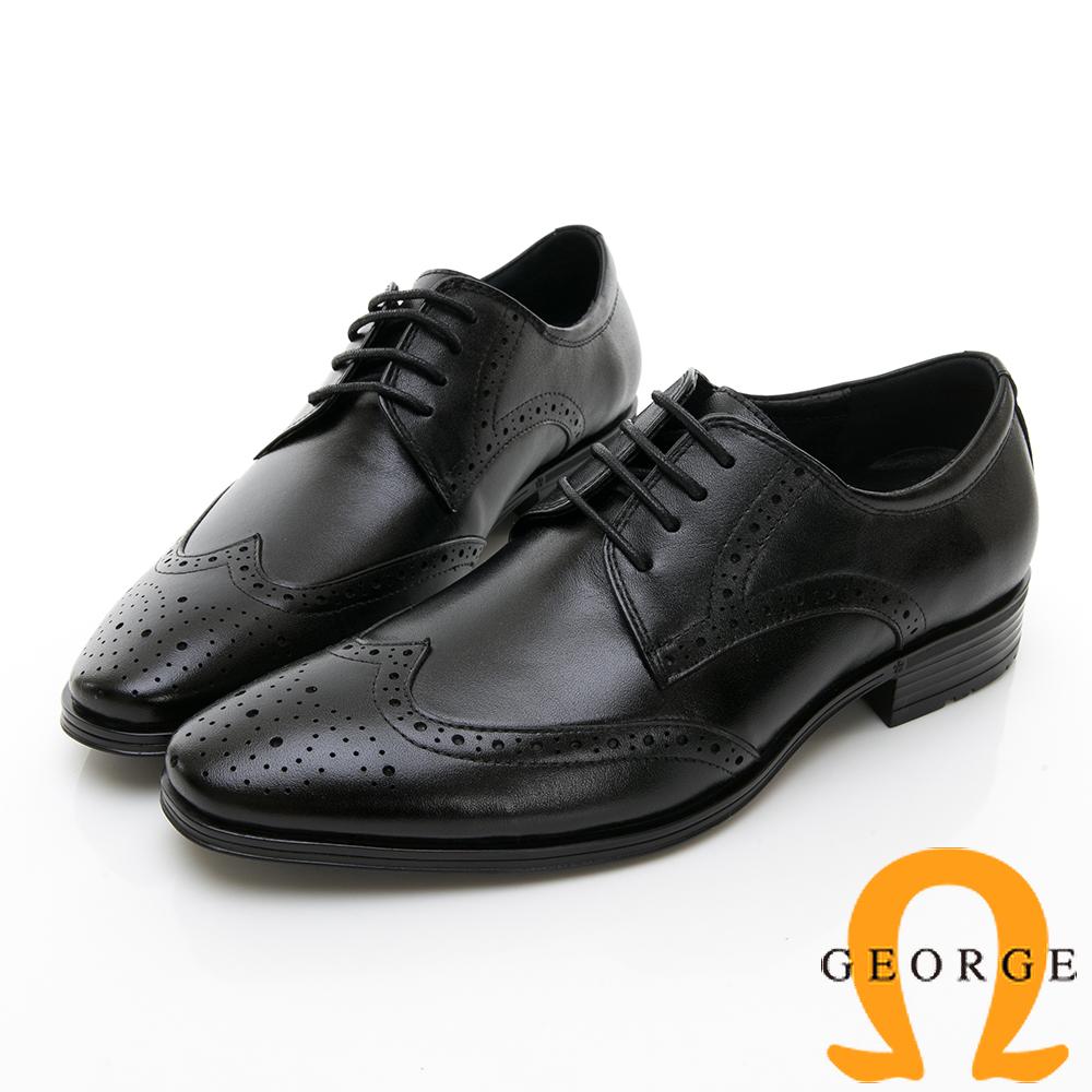 【GEORGE 喬治皮鞋】尊爵系列 漸層雕花綁帶紳士皮鞋-黑色