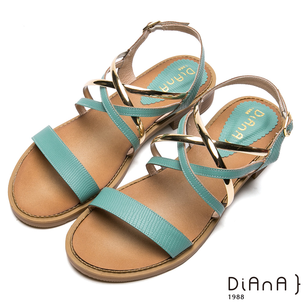 DIANA交織金屬鞋帶一字羅馬涼鞋- 異國尤物-綠