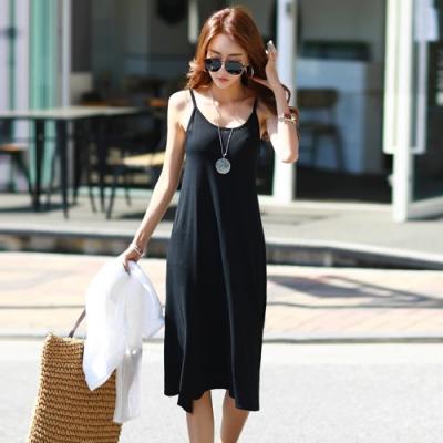 正韓 簡約素色細肩長款連身裙 (共二色)-N.C21