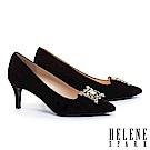 高跟鞋 HELENE SPARK 奢華格調鑽飾羊麂皮尖頭高跟鞋-黑