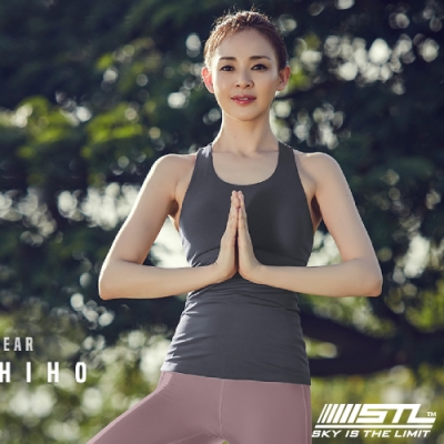 STL yoga bra T SS Balance Slim 韓國瑜珈 運動機能訓練背心上衣(含胸墊)平衡拿鐵灰