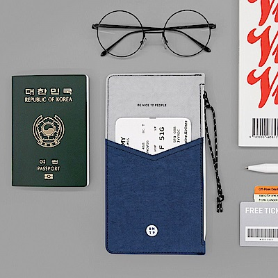 BNTP 雙色護照收納包-自信藍