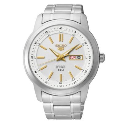 SEIKO 精工 5號SPORTS機械腕錶-銀金(SNKM85J1/7S26-03Z0G)
