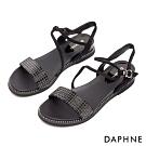 達芙妮DAPHNE 涼鞋-一字帶晶鑽美背坡跟涼鞋-黑