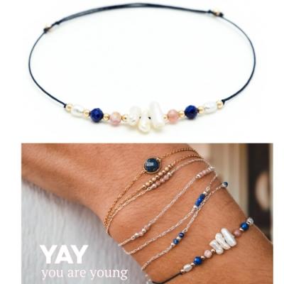 YAY You Are Young 法國品牌Riviera珍珠貝母粉紅玉石手鍊 藍色X白色