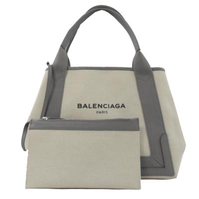 BALENCIAGA NAVY 簡約款手提帆布包(白/灰)