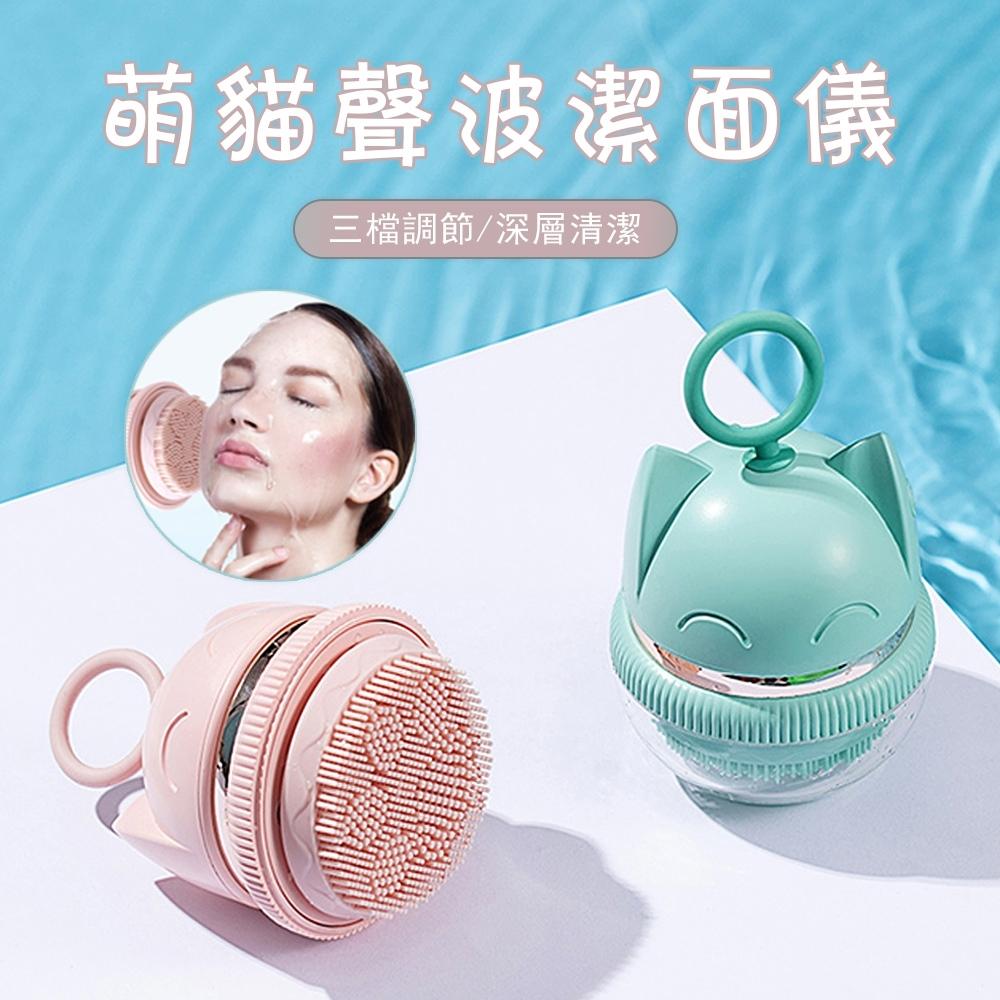 OOJD 電動超音波潔面儀 溫熱振動雙效洗臉機 毛孔清潔美容儀(配兩種刷頭 針對不同膚質)