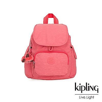Kipling 甜美蜜桃橘素面拉鍊掀蓋後背包-CITY PACK MINI